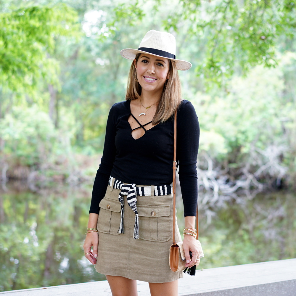 Criss cross black top, khaki cargo skirt, Panama hat