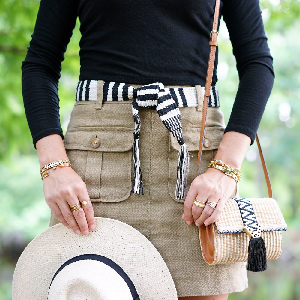 Khaki cargo skirt, striped cloth belt, Panama hat