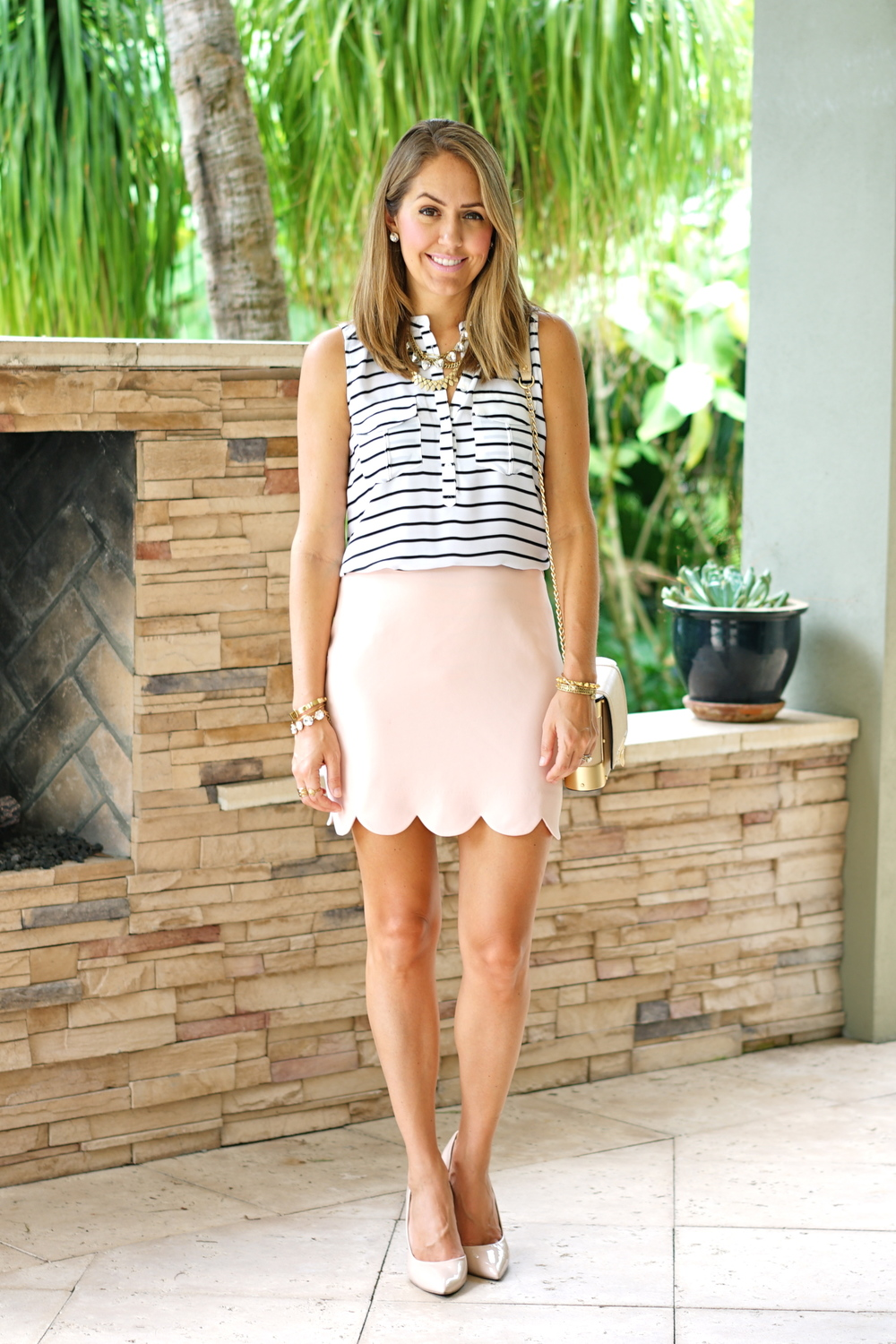 Navy stripe shirt, blush pink skirt