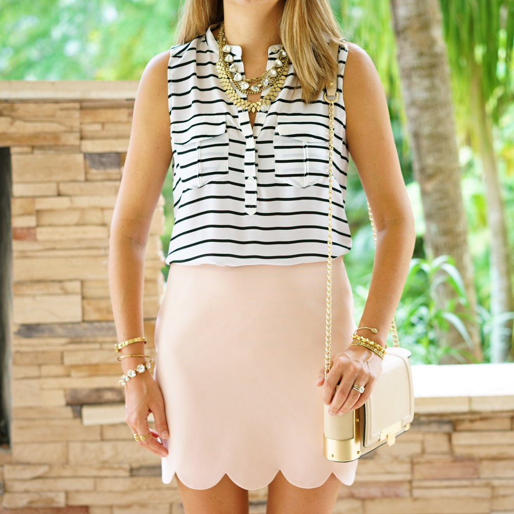 Blue stripe shirt, blush pink skirt