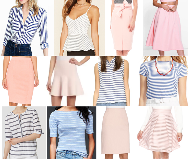 Blush pink skirts, blue stripe shirts, on a budget!