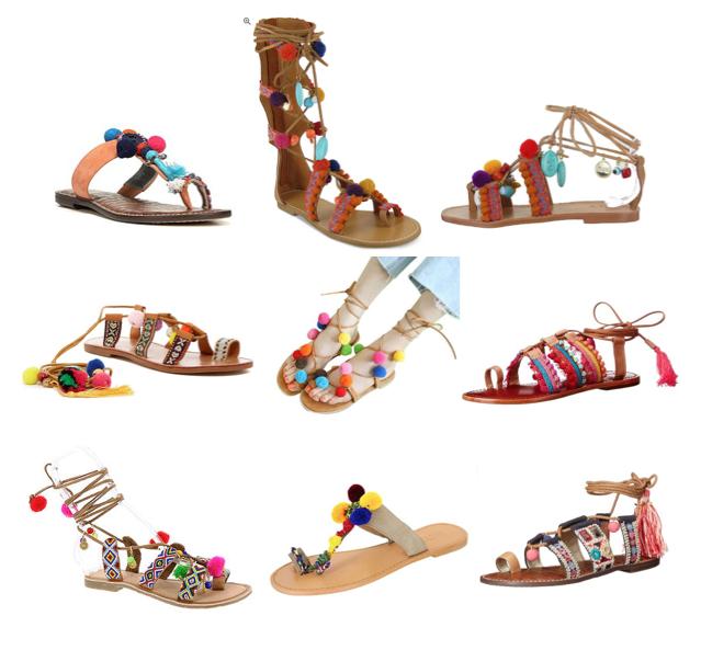 Pom pom sandals on a budget