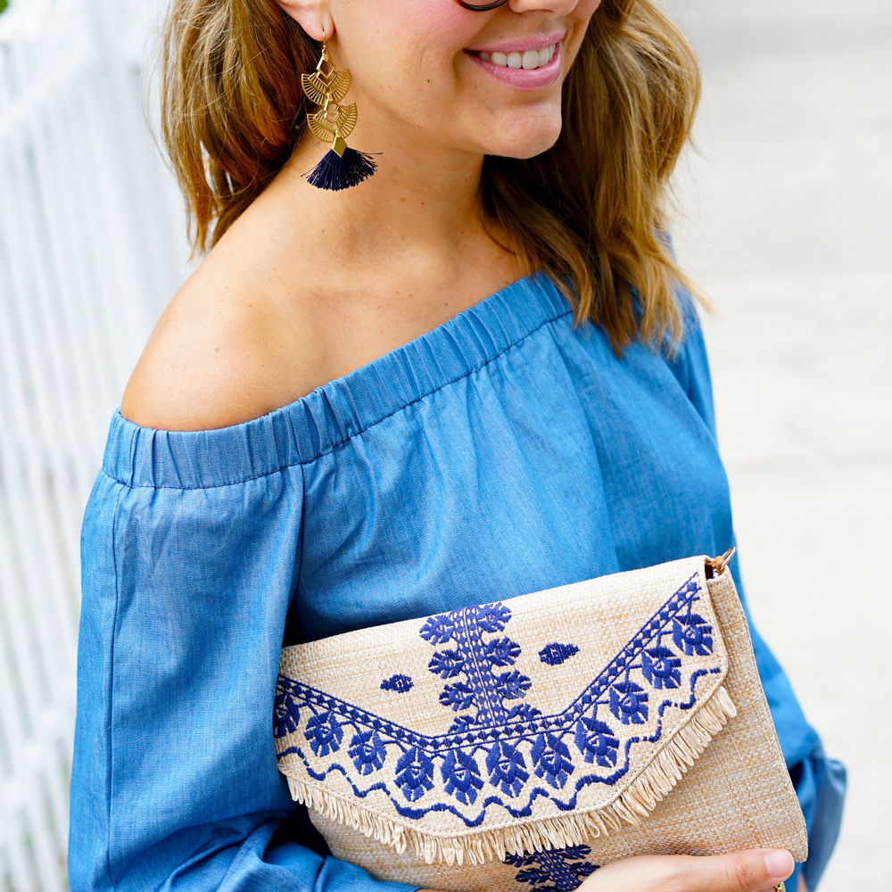 Chambray off shoulder, embroidered straw clutch