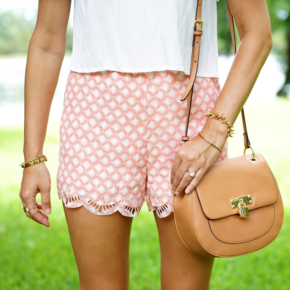 Lauren Conrad scallop shorts, Kohl's purse