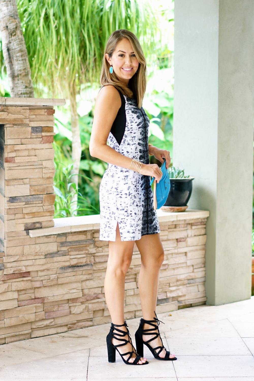 REED dress, black lace up block heels