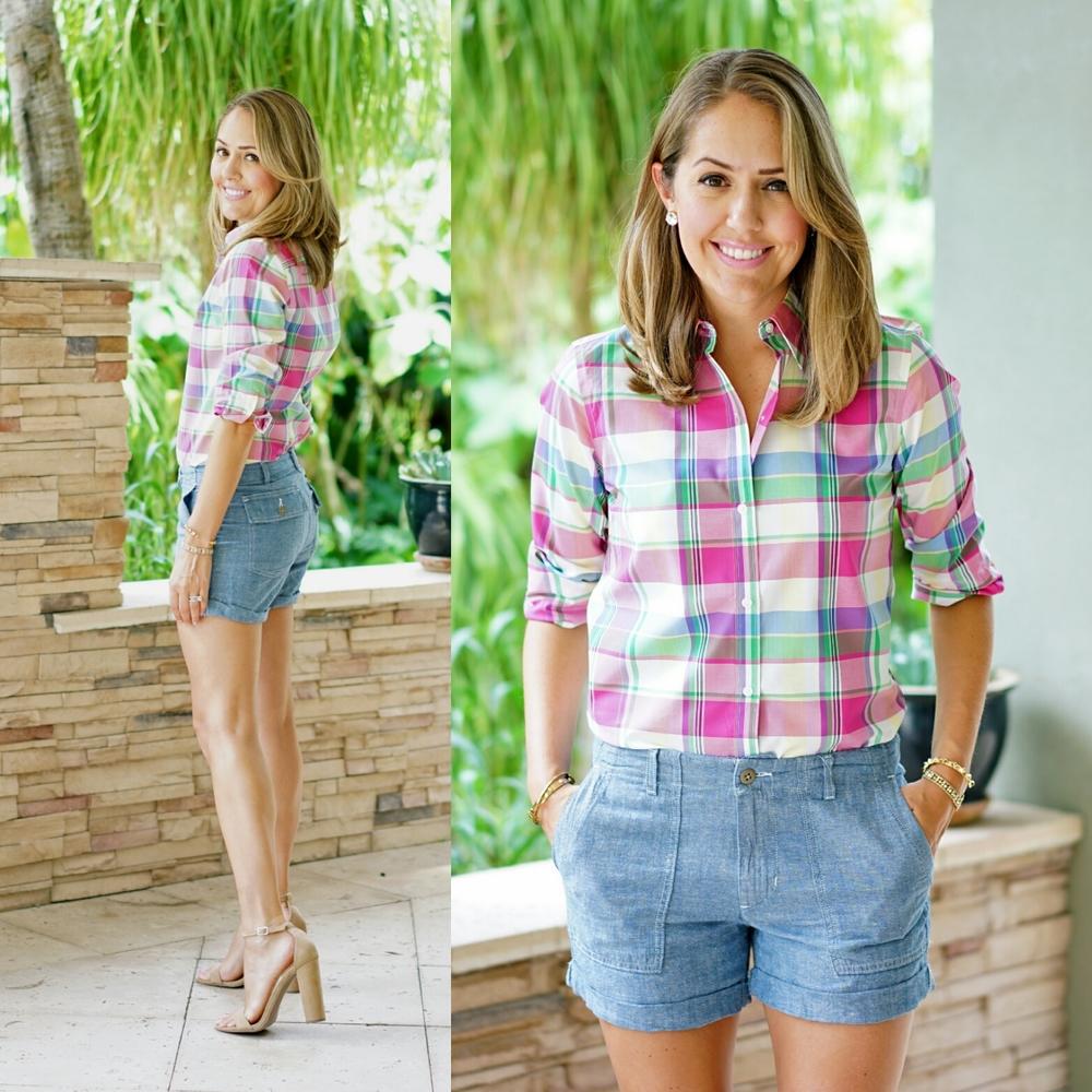 Chaps pink plaid shirt, chambray shorts