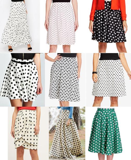 Polka dot skirts on a budget