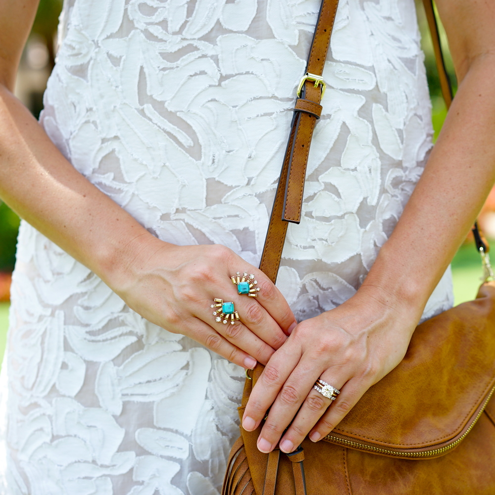 Ivory textured dress, turquoise ring