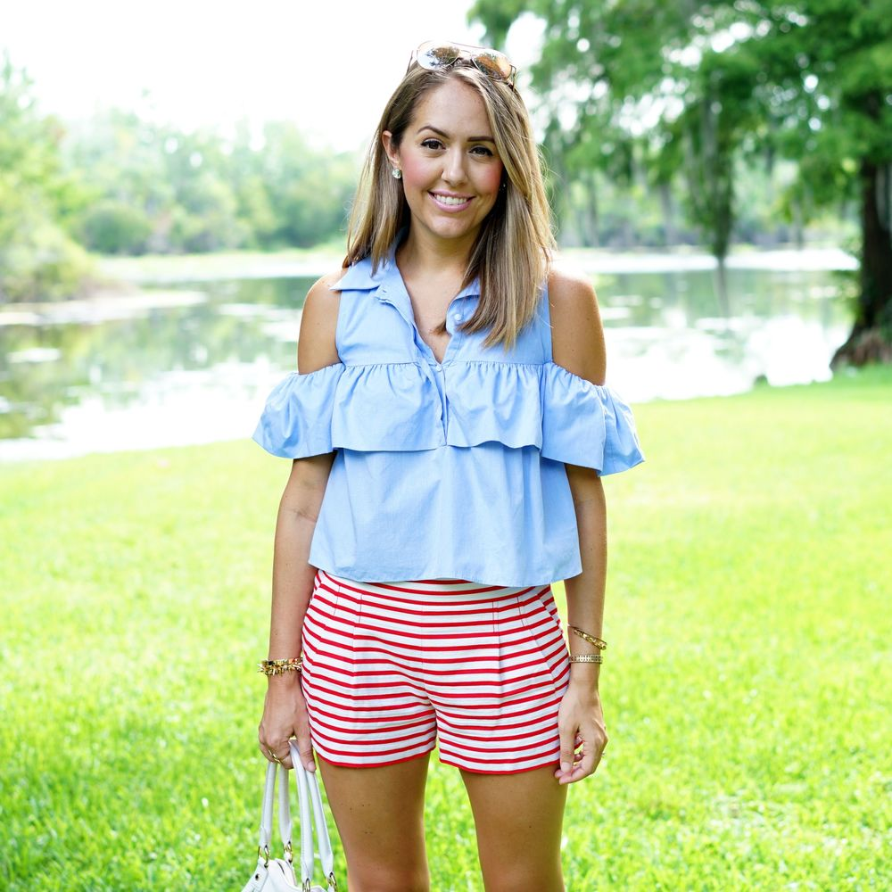 July 4th outfit - blue ruffled top with red stripe shorts