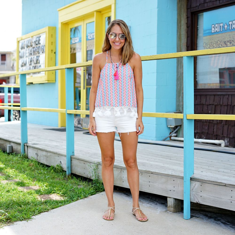 Colorful tassel top with tassel necklaces