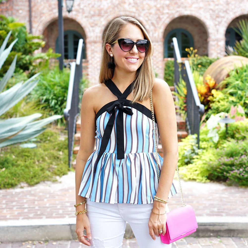 Stripe peplum bow tie top