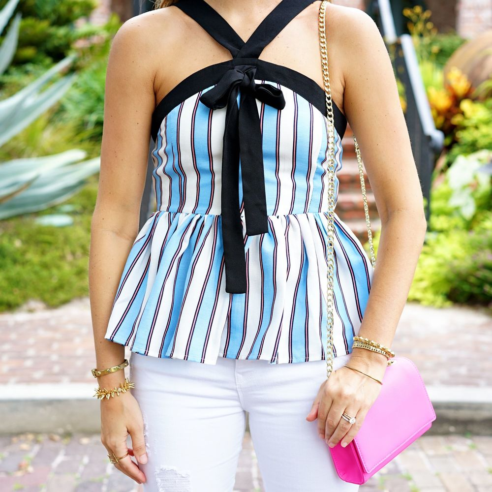 Stripe peplum bow tie top