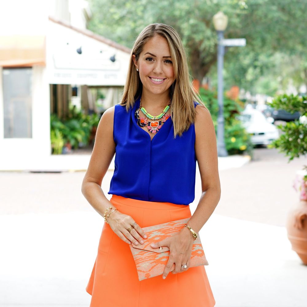 Cobalt top, orange skirt