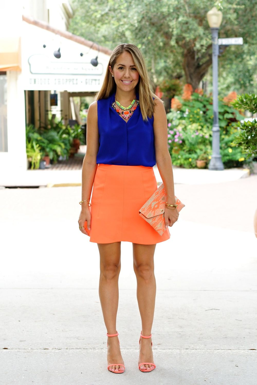 Cobalt top with orange skirt