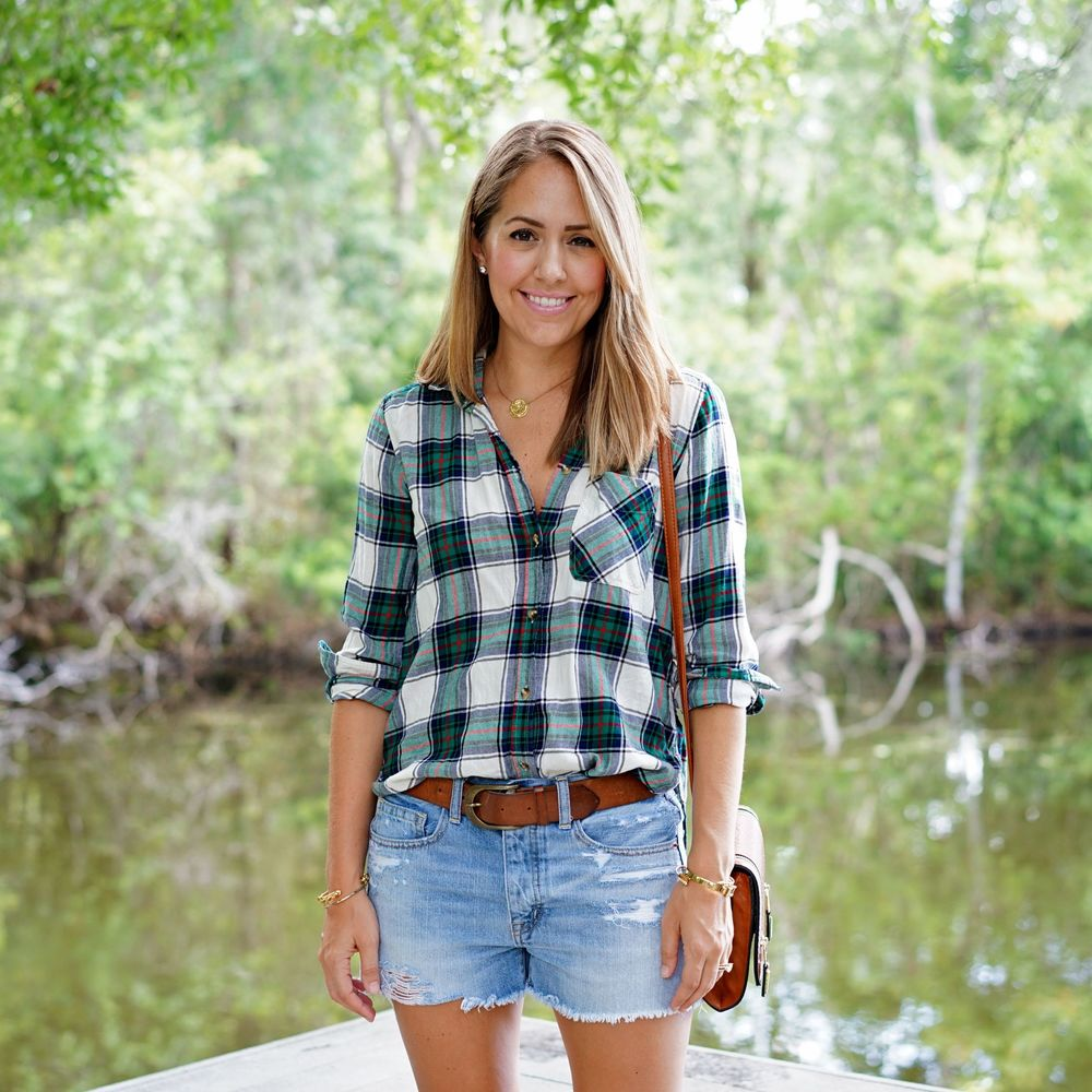 Plaid top, boyfriend denim shorts