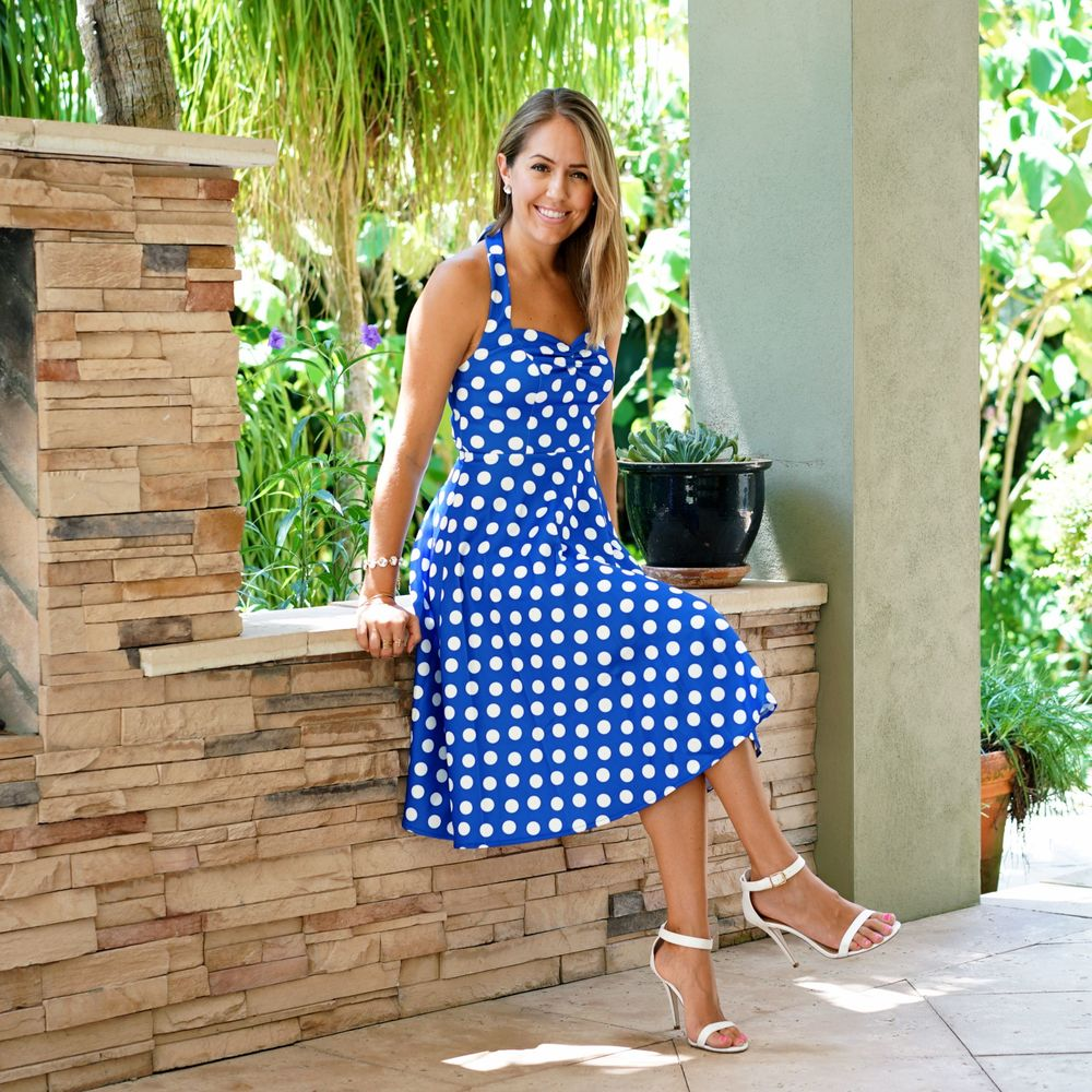 Ever-Pretty polka dot halter dress