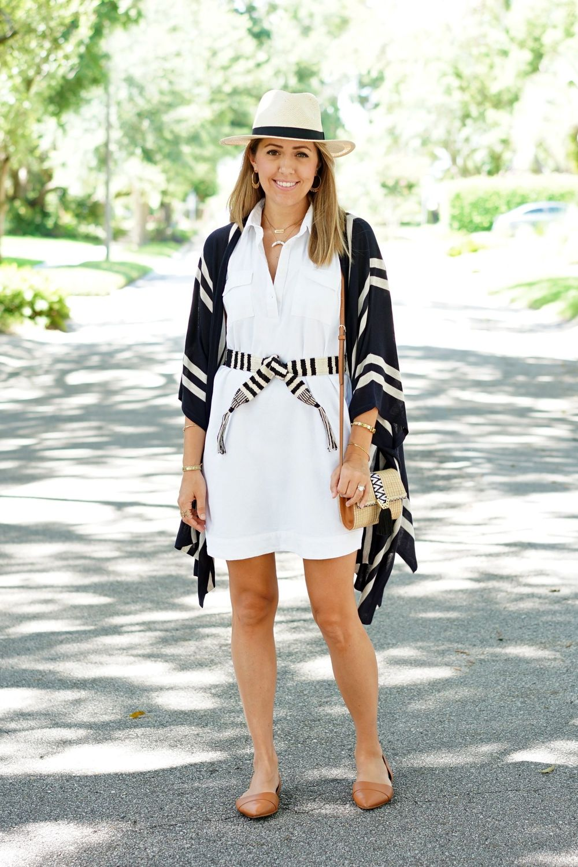 Striped poncho, white shirt dress, woven belt