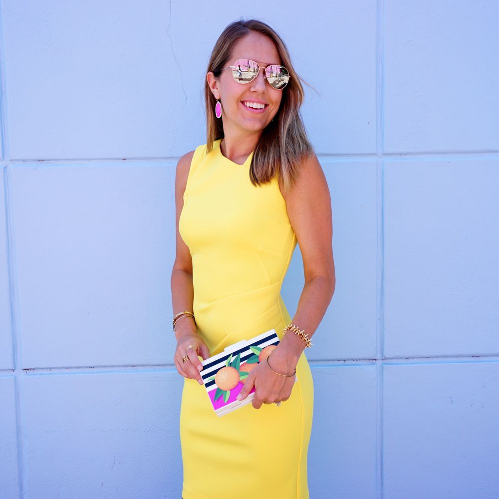Yellow dress and graphic clutch from Macy's
