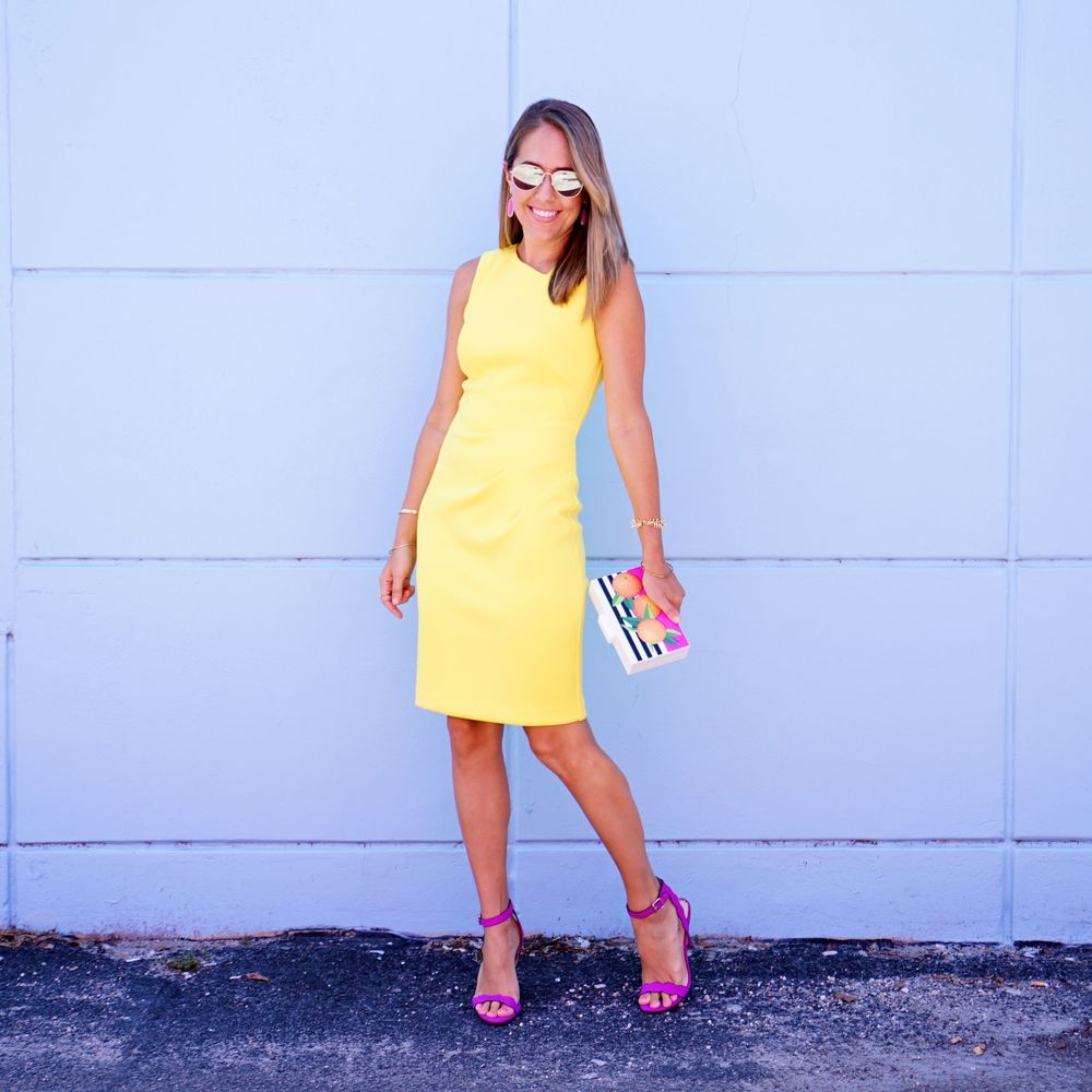 Yellow dress, purple heels, graphic clutch - Macy's