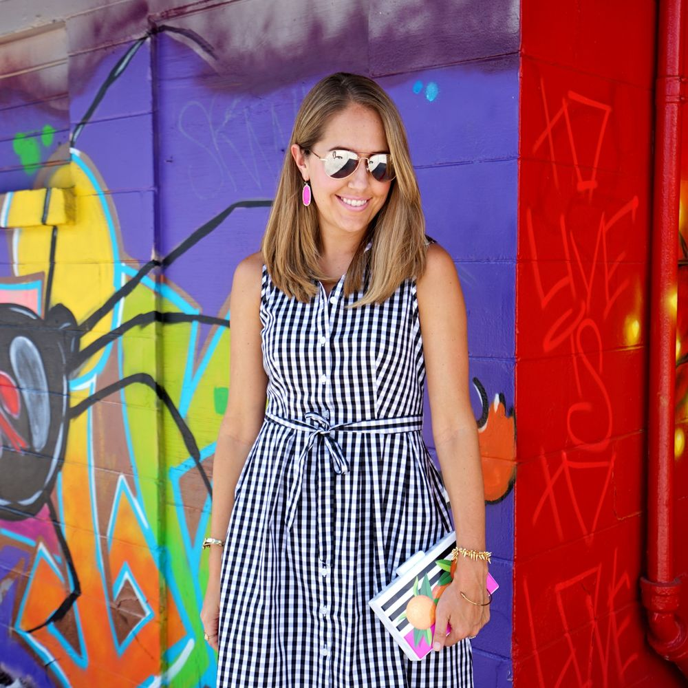 Gingham dress, graphic clutch - Macy's