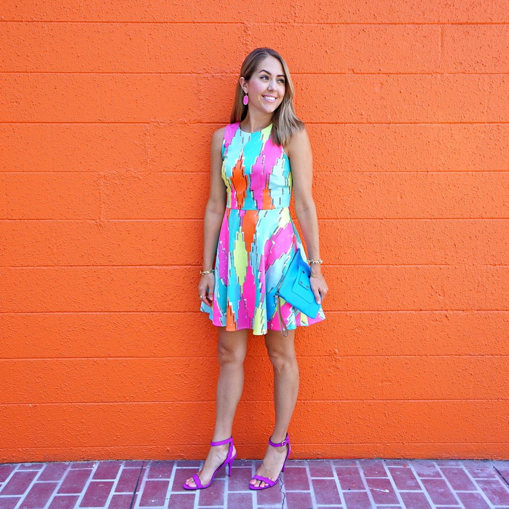 Colorful dress, purple heels - Macy's