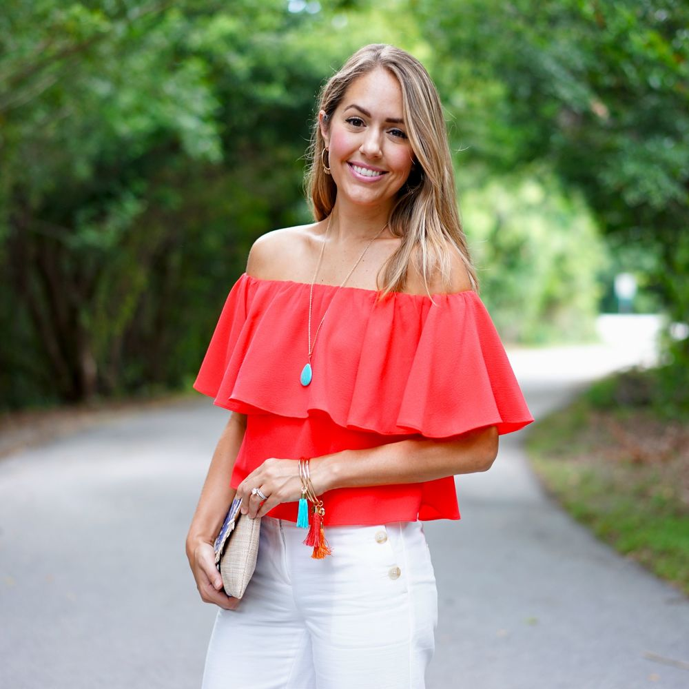 Red off shoulder top with turquoise accents