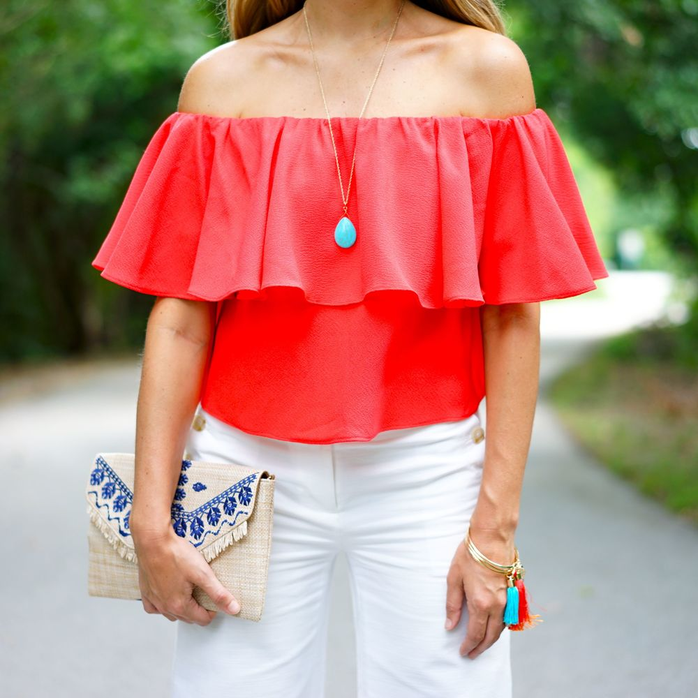 Red off shoulder top, turquoise jewelry