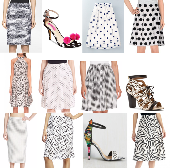Black and white print shoes and skirts