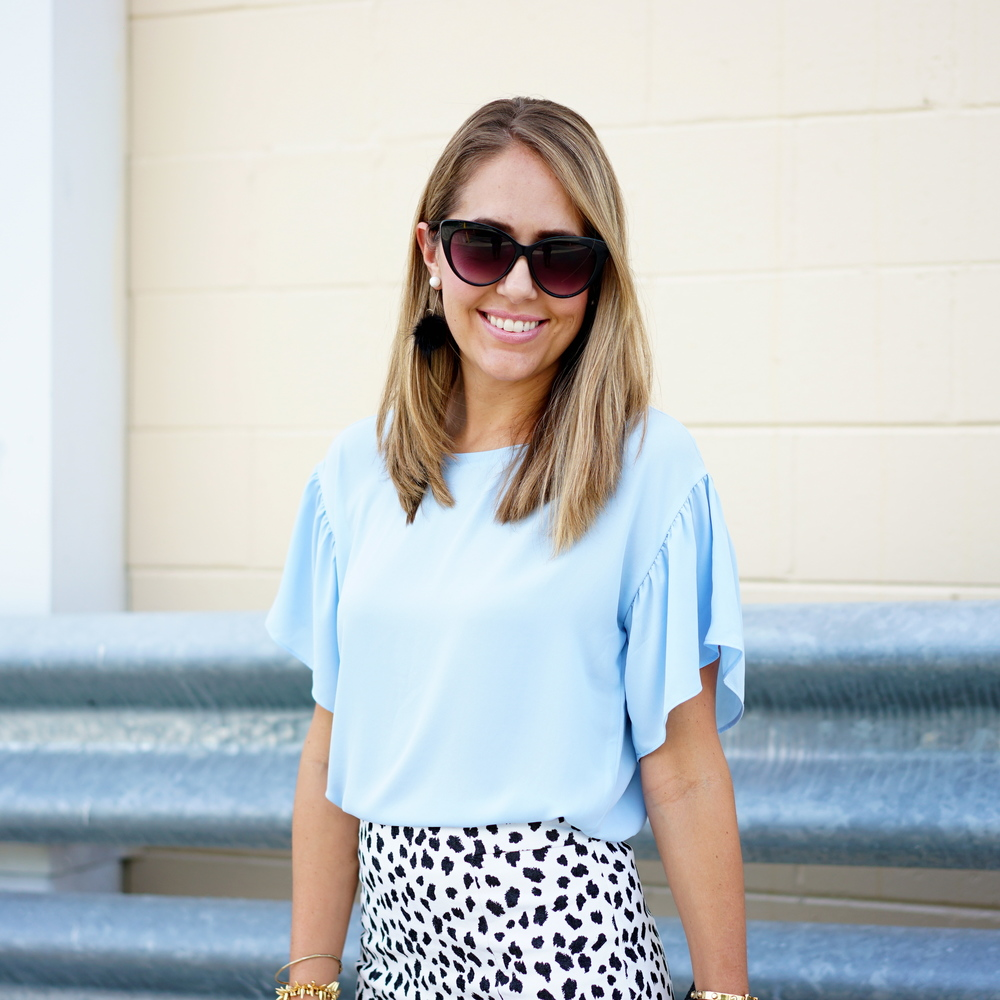 Baby blue ruffle sleeve, Dalmatian print
