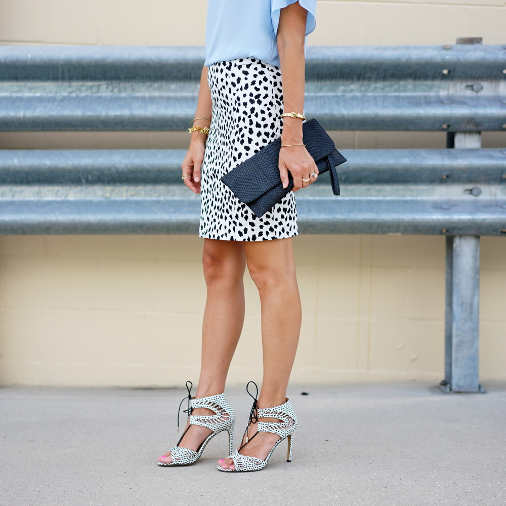 Dalmatian print / polka dot skirt and shoes