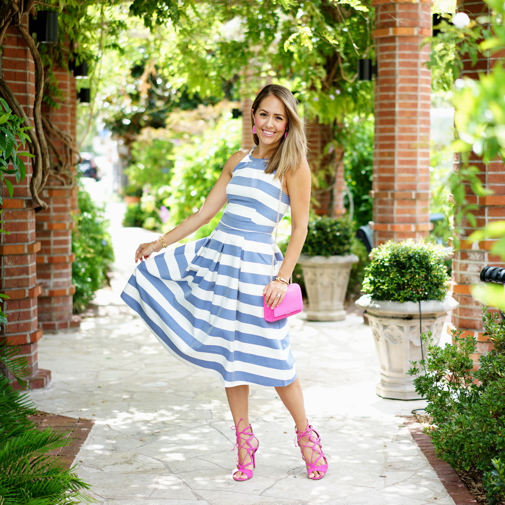 Blue stripe dress with pink accessories