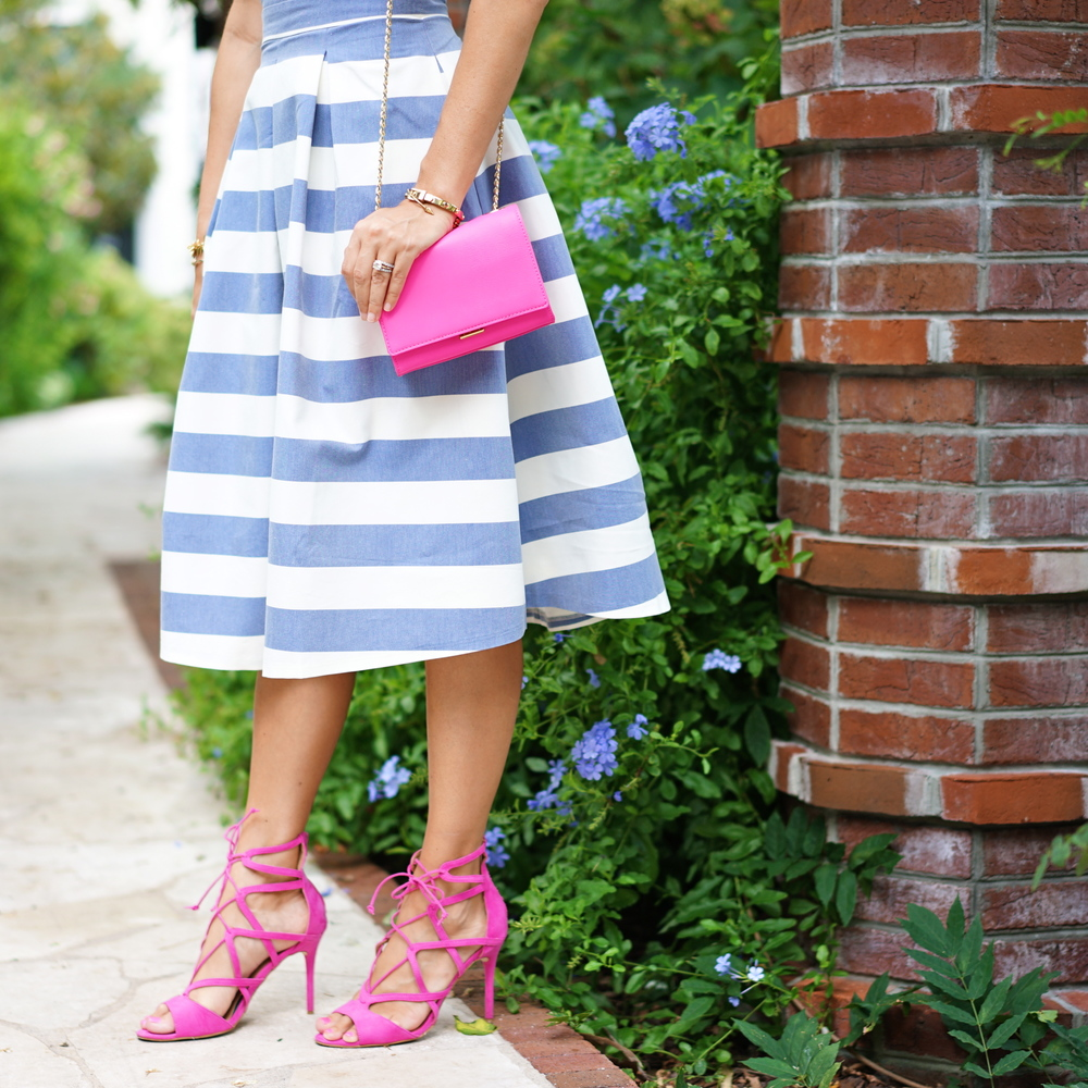 Blue stripe dress with pink lace up heels
