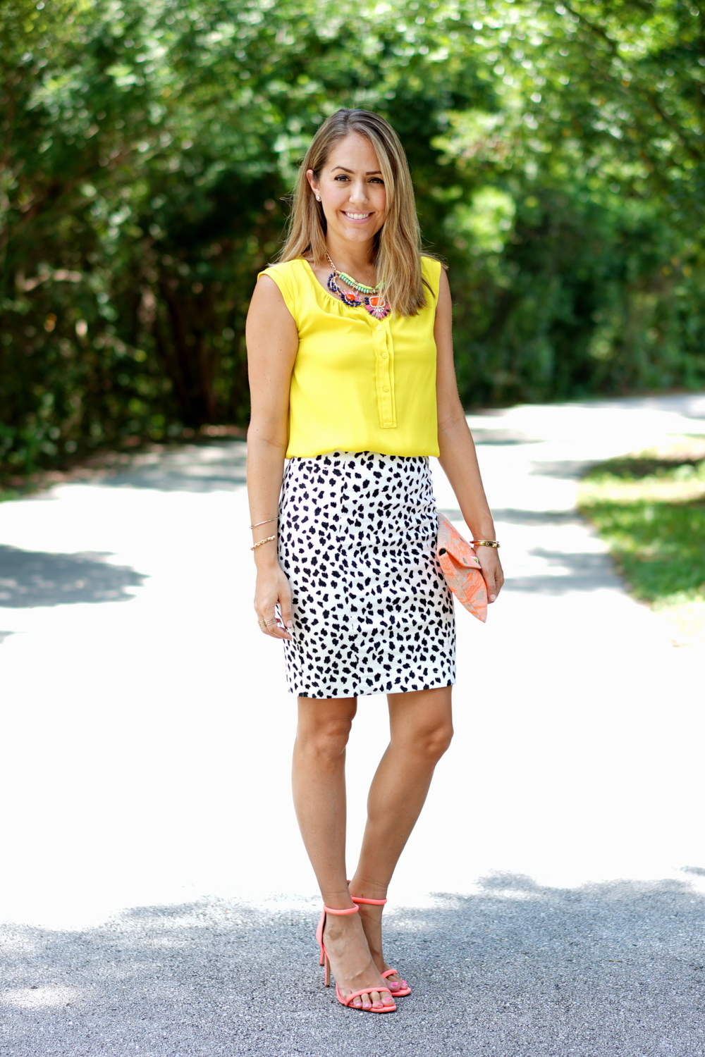 Yellow top, Dalmatian print skirt, orange heels