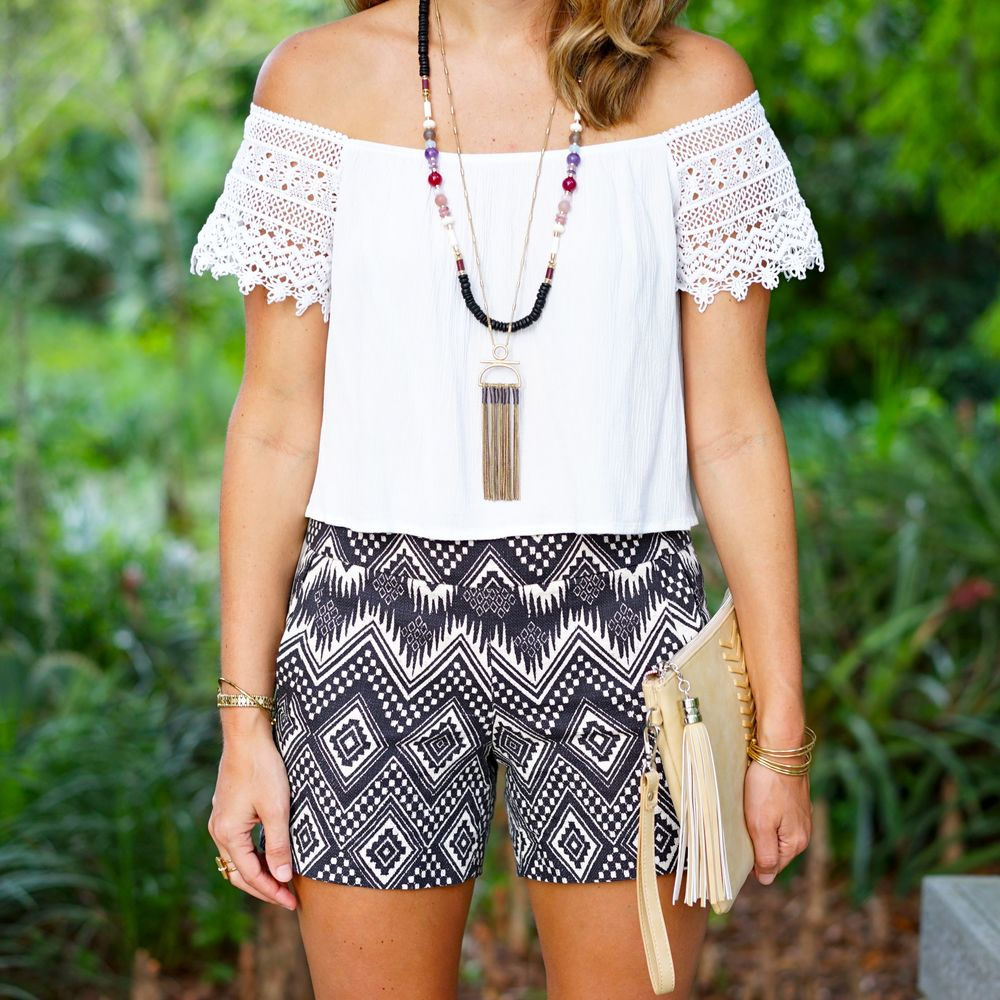 White off shoulder top, navy tribal shorts