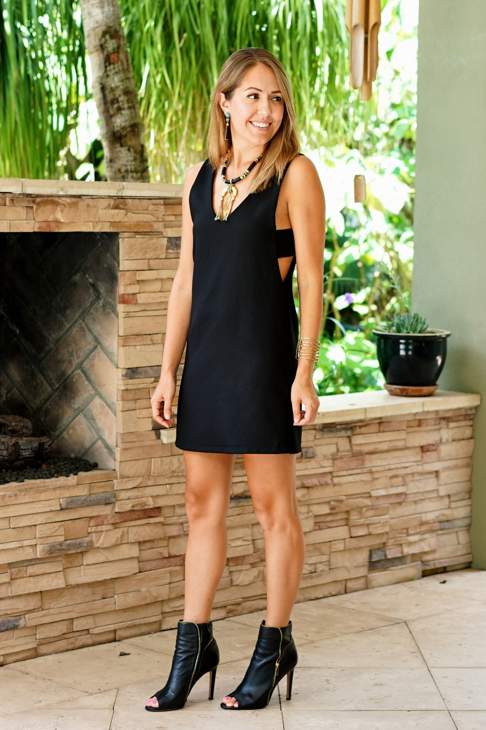 Black cut out dress and peep toe booties