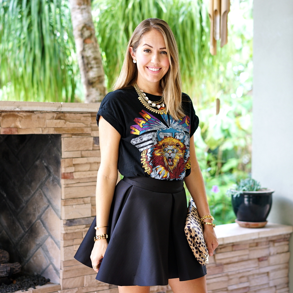Graphic tee, scuba skater skirt, leopard clutch
