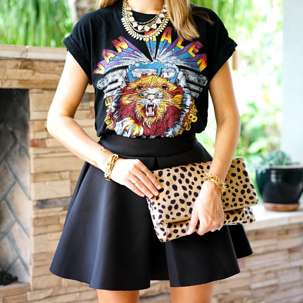 Van Halen graphic tee, skater skirt, leopard clutch
