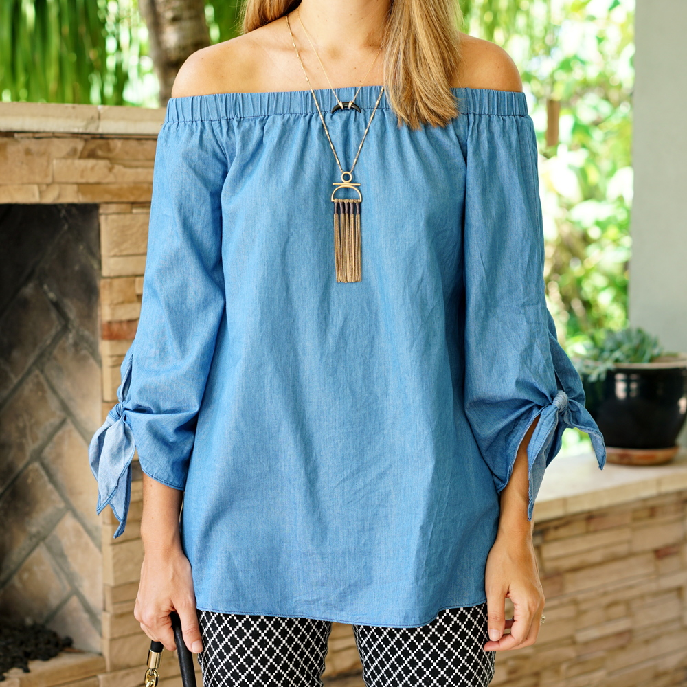 Off shoulder chambray top, fringe necklace