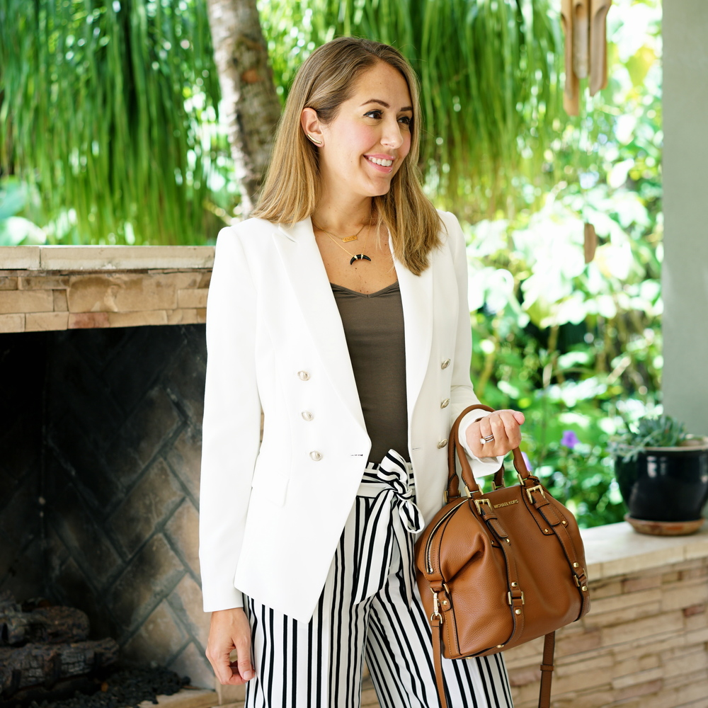 White blazer, striped pants