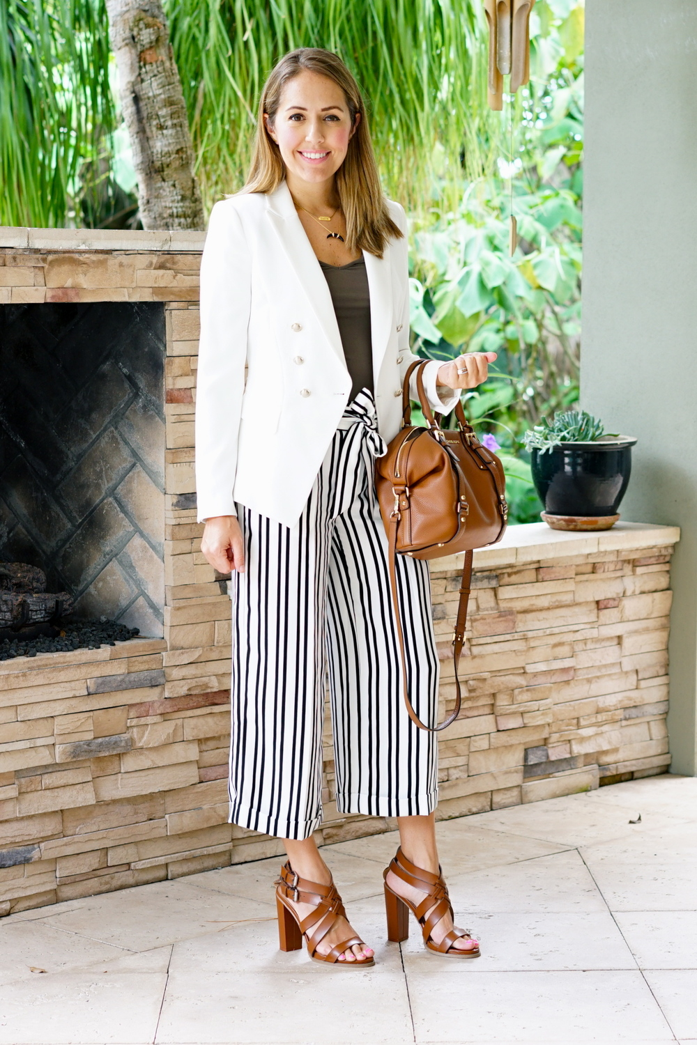 White blazer, striped cropped pants