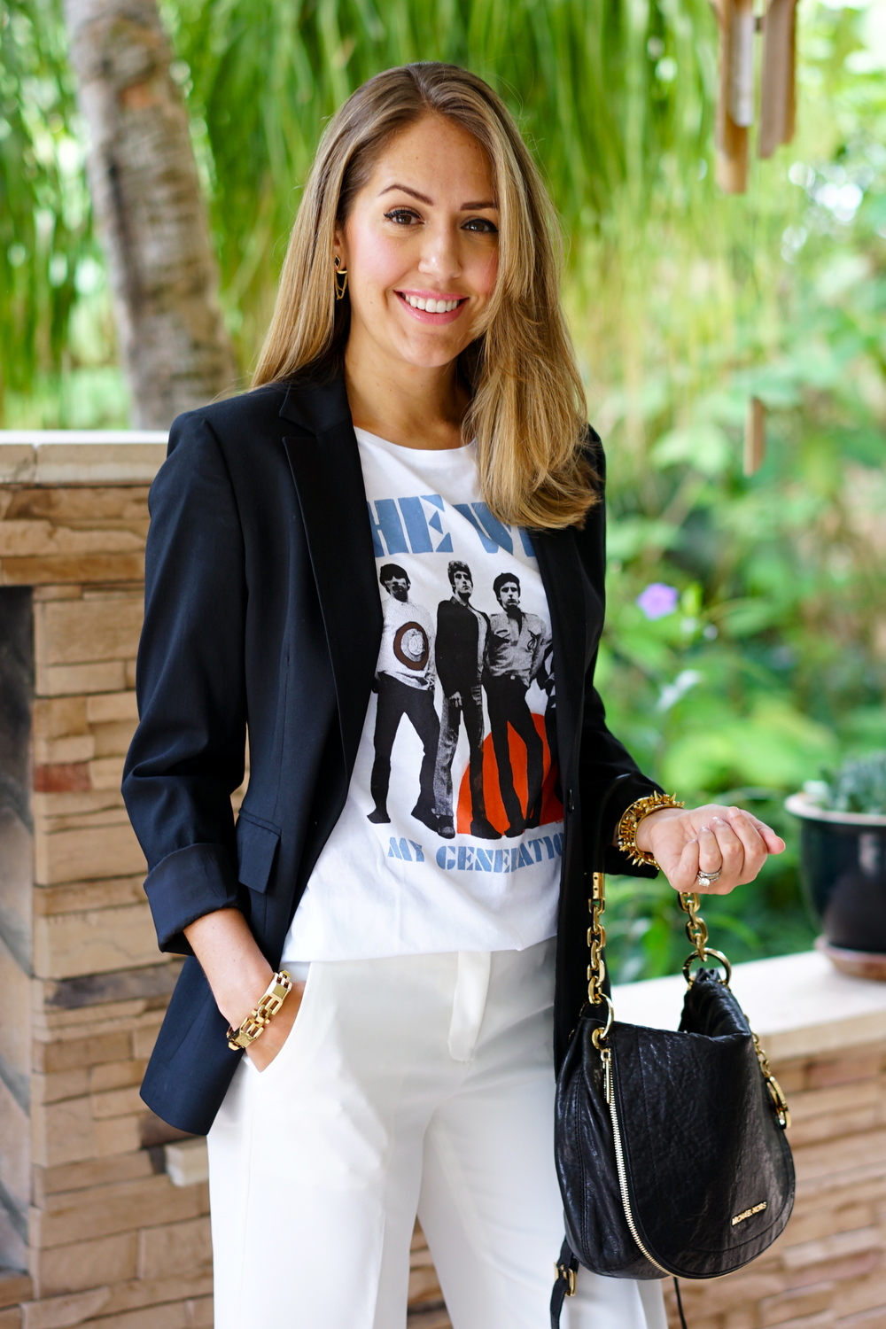 Boyfriend blazer, The Who tee, cropped trousers