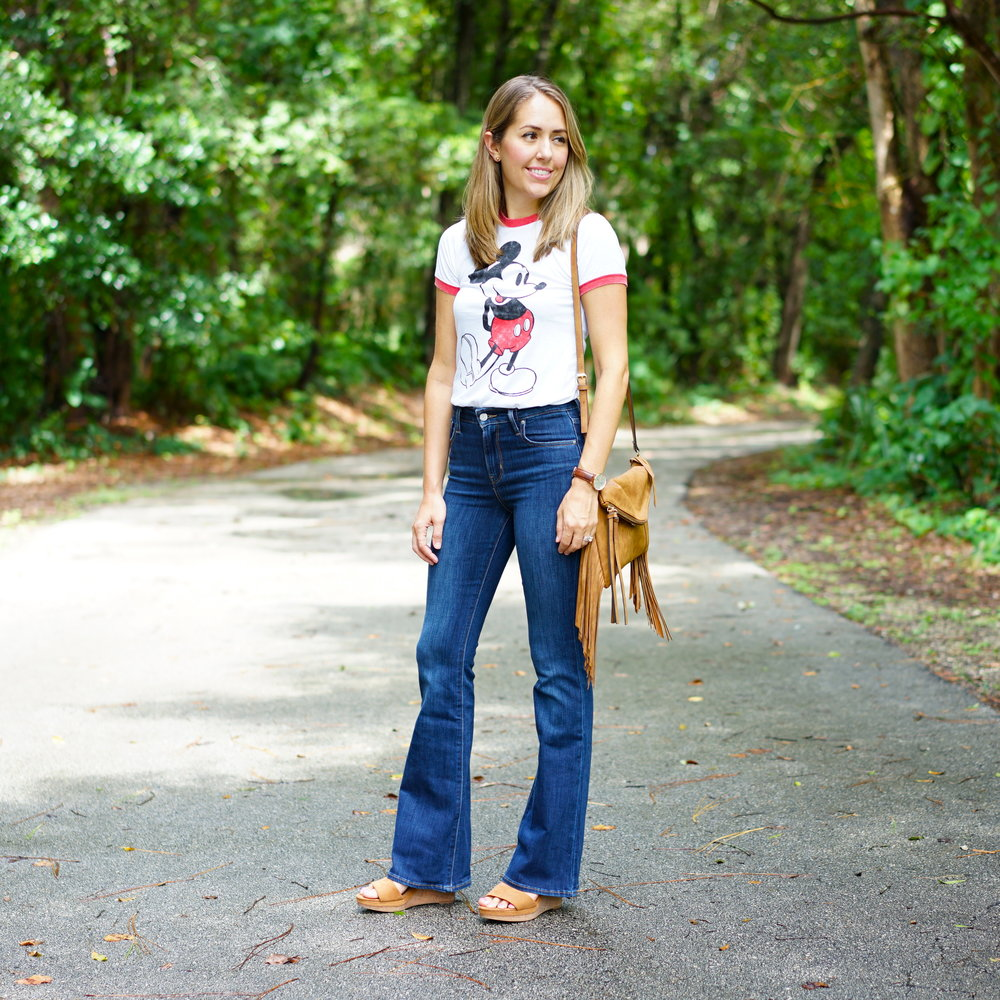 Mickey ringer tee with high waist flares