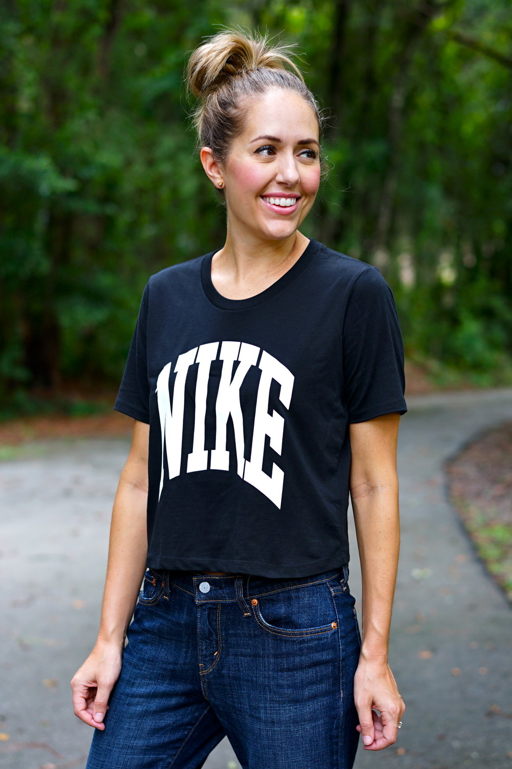 Nike cropped tee and boyfriend jeans