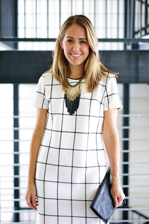 Windowpane dress, fringe necklace