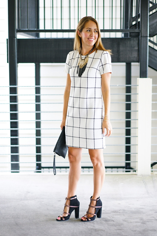 Windowpane dress, cage heels