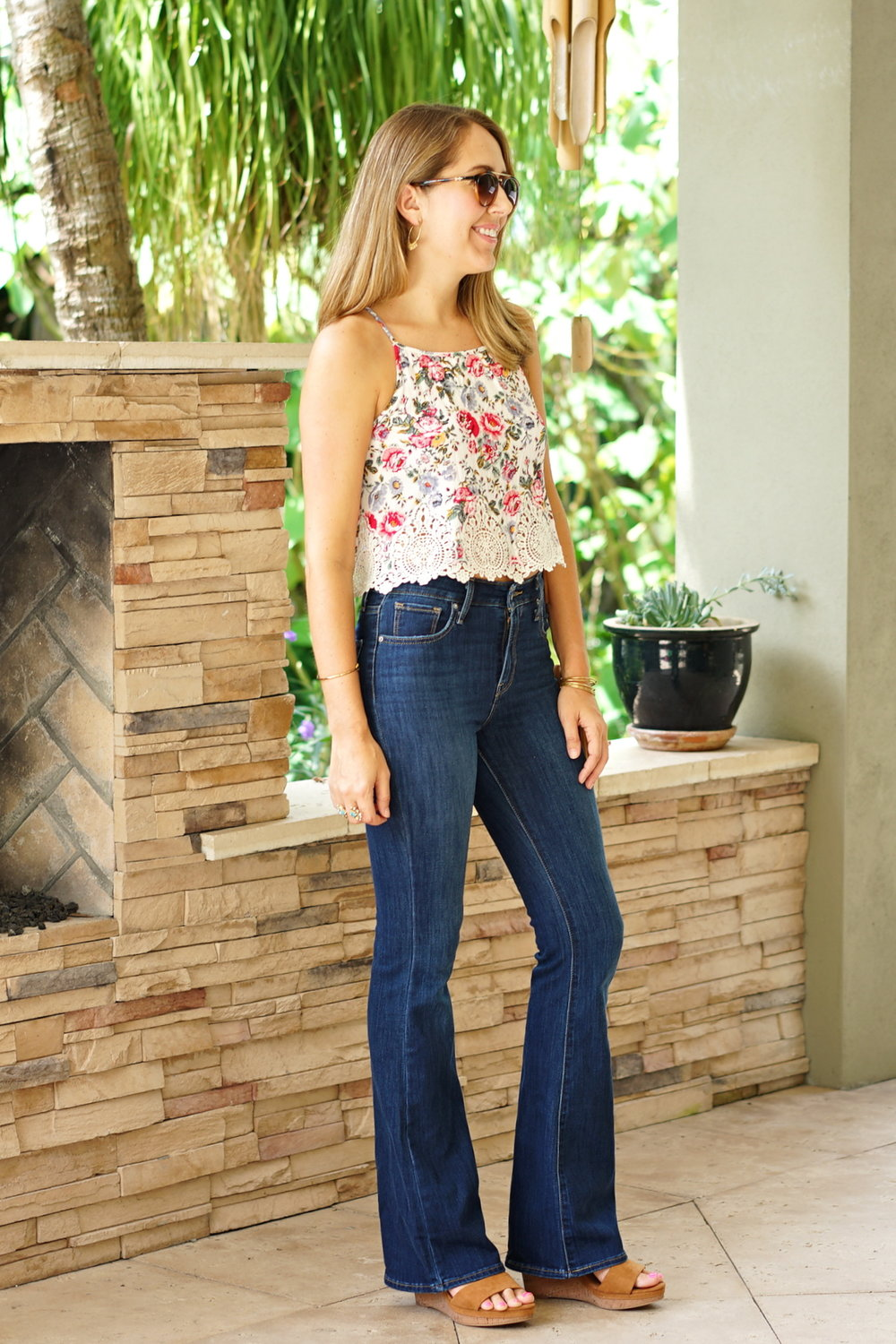 Floral crop top and high waist flares