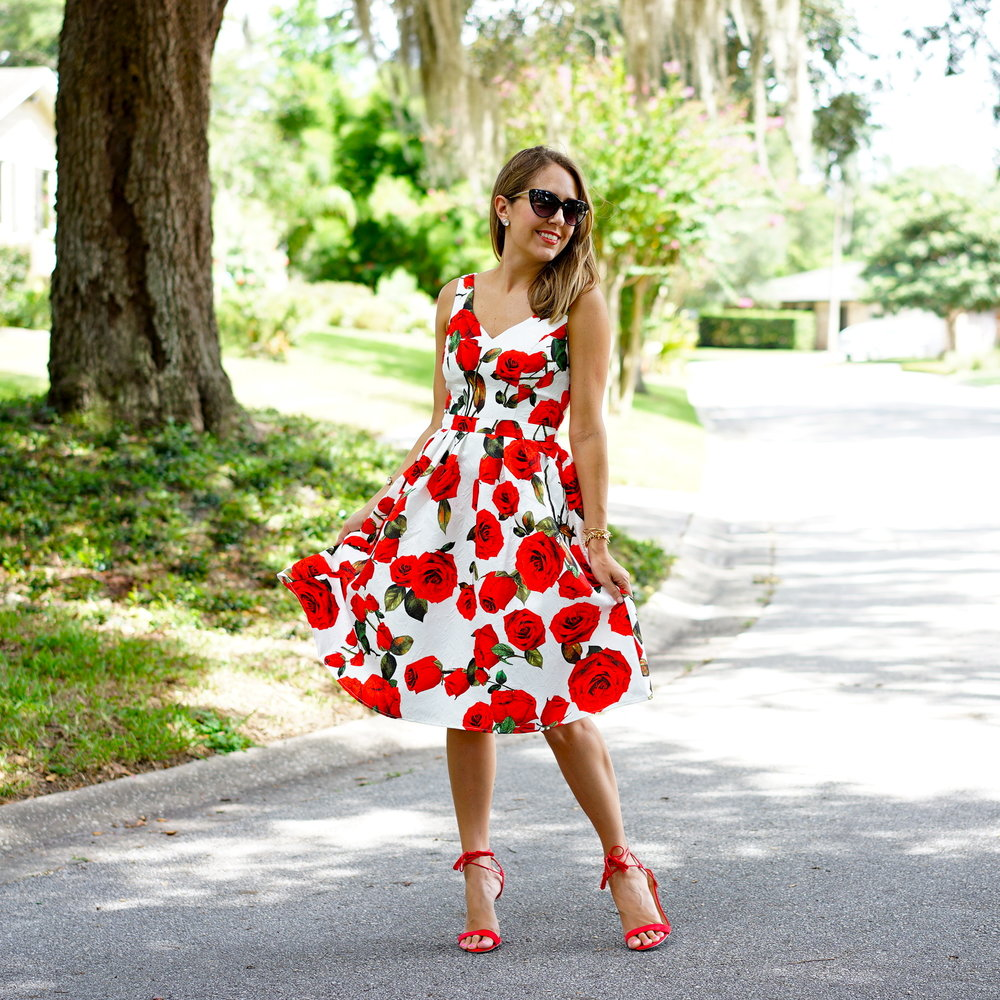 Red rose dress - Chi Chi London