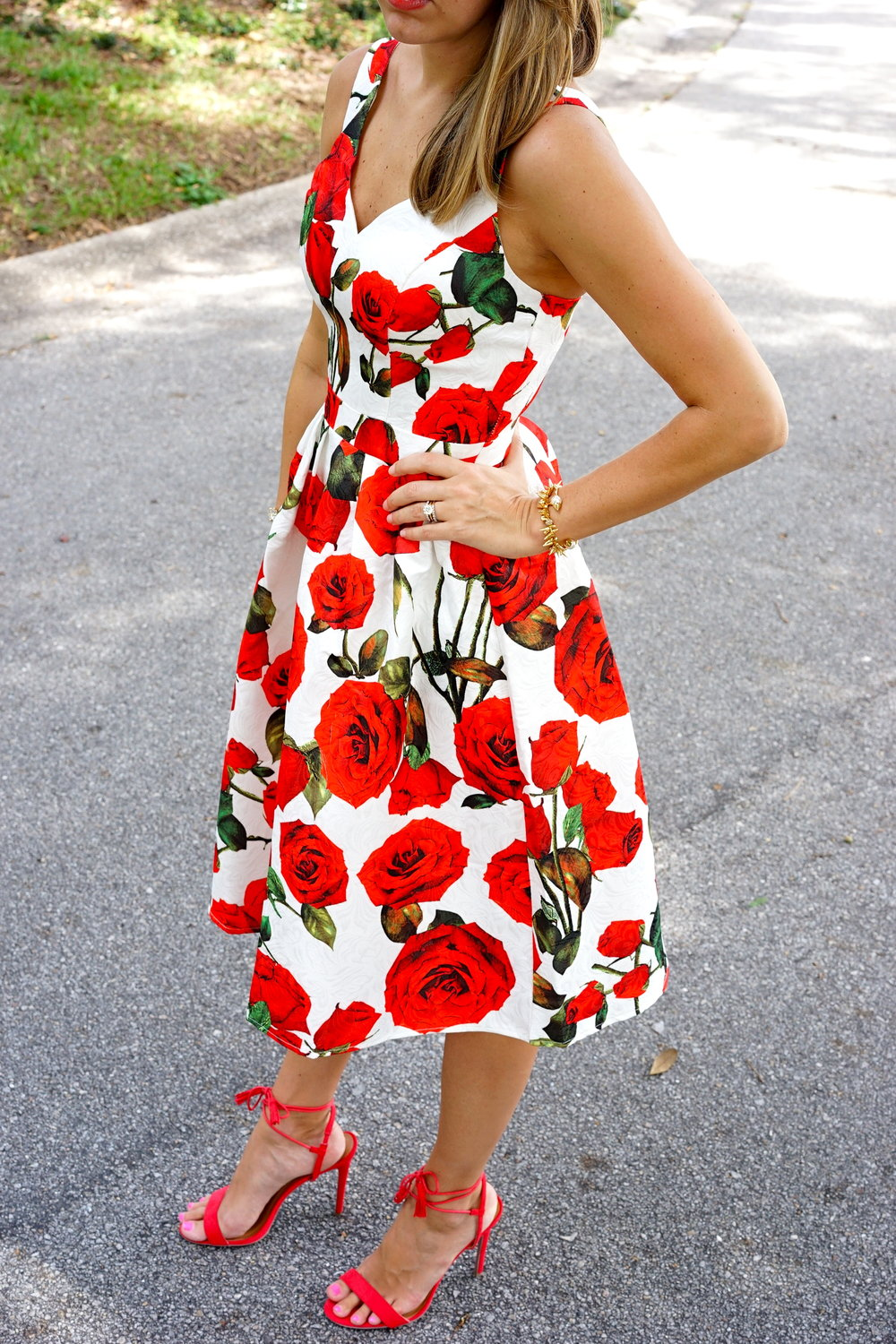 Red rose dress, red lace up heels