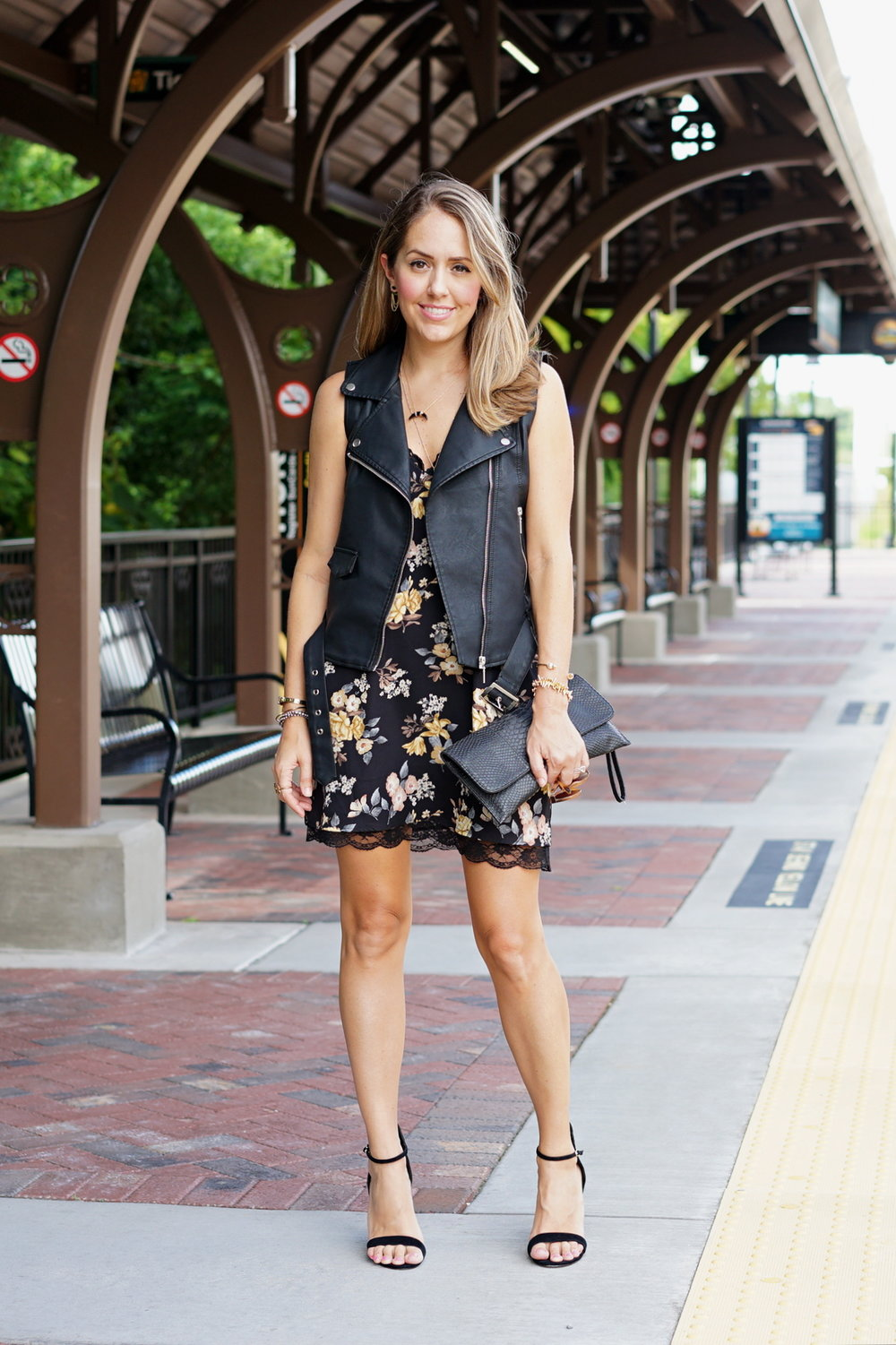 Black floral slip dress, black moto vest