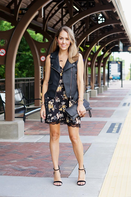Black floral slip dress, black moto vest